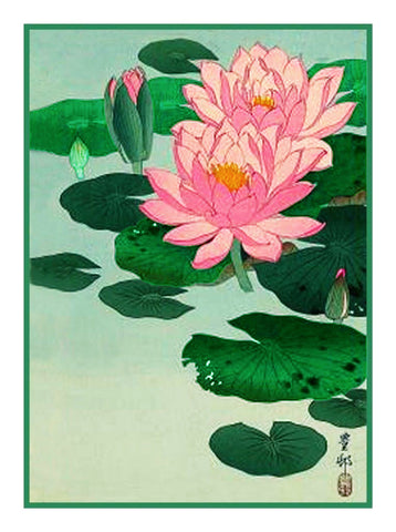 Japanese Artist Ohara Shoson's Lotus Flowers Counted Cross Stitch Pattern