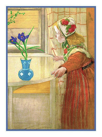 Liliana in the Window with a Crocus by Swedish Artist Carl Larsson Counted Cross Stitch or Counted Needlepoint Pattern