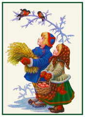 Young Boy and  Girl Feeding the Birds by Gerda Tiren Holiday Christmas Counted Cross Stitch Pattern