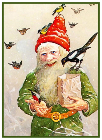 Elf Gnome Feeding the Birds Jenny Nystrom  Holiday Christmas Counted Cross Stitch Pattern