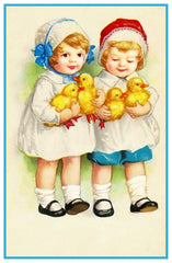 Vintage 2 Young Girls with Their Easter Chicks Counted Cross Stitch Pattern