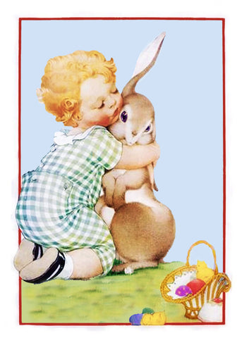 Vintage Child Hugging Baby Bunny Easter Counted Cross Stitch Pattern