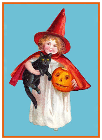 Halloween Young Girl in Witch Costume with a Black Cat and Pumpkin Counted Cross Stitch Pattern DIGITAL DOWNLOAD