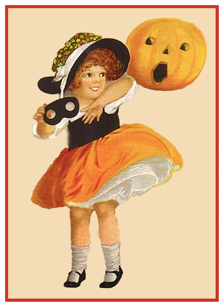 Victorian Halloween Young Girl Mask and a Pumpkin Counted Cross Stitch or Counted Needlepoint Pattern