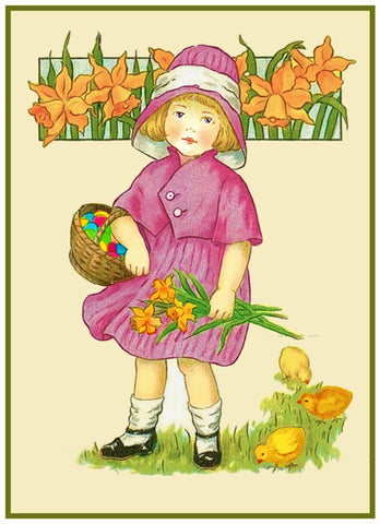 Vintage Easter Young Girl with Spring Flowers and Basket Counted Cross Stitch Pattern