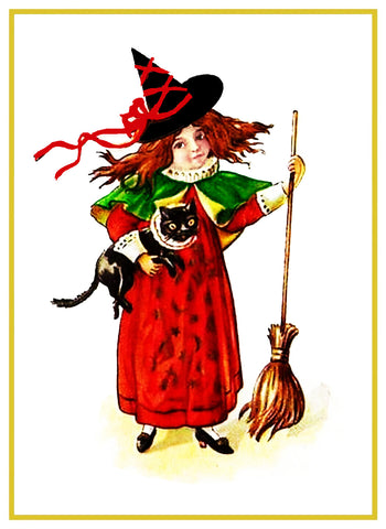 Halloween Folk Art Witch Broom Counted Cross Stitch Pattern
