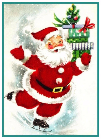 Father Christmas Santa Claus Skating # 757 Counted Cross Stitch Pattern DIGITAL DOWNLOAD
