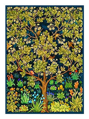 Tree of Life detail William Morris Counted Cross Stitch Pattern