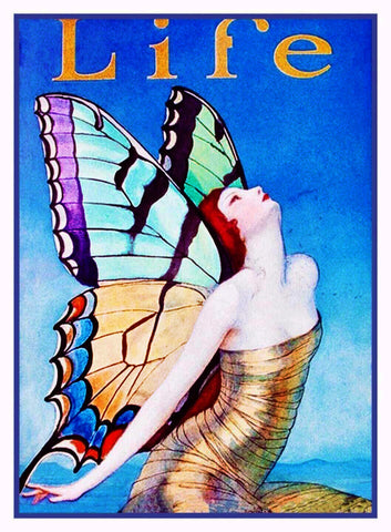 Art Deco Butterfly Woman WT Benda Life Cover Counted Cross Stitch Chart Pattern