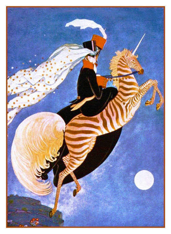 Art Deco Zebra Unicorn Vogue Cover  Benito Counted Cross Stitch Pattern