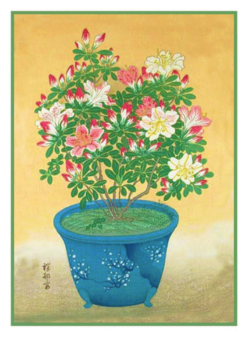 Japanese Artist Ohara Shoson's Azalea Flowers in a Pot Counted Cross Stitch Pattern