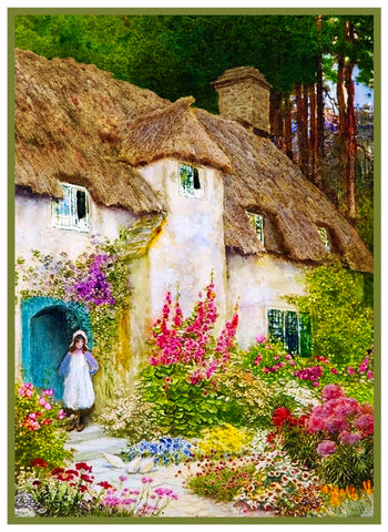 A Girl at English Cottage Door by A. C. Strachan Counted Cross Stitch Pattern