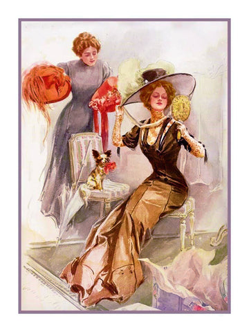 Harrison Fisher Art Deco Cosmo American Girl France Counted Cross Stitch Pattern