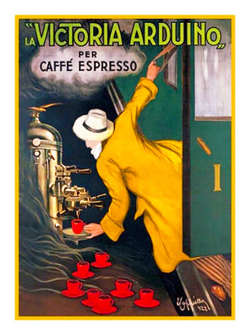 Leonetto Cappiello Coffee Poster Counted Cross Stitch Pattern