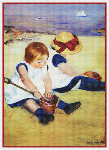 Children Playing on the Beach by American impressionist artist Mary Cassatt Counted Cross Stitch Pattern