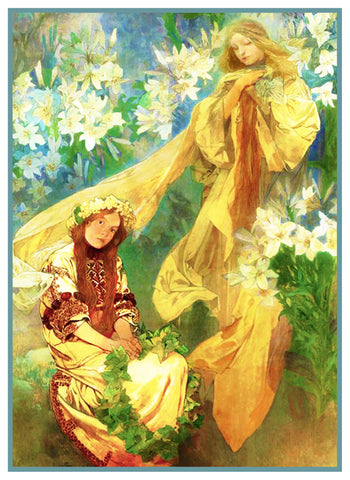 Madonna of the Lilies 1905 by Alphonse Mucha Counted Cross Stitch Pattern