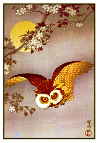 Japanese Artist Ohara Shoson's Owl In a Full Moon Counted Cross Stitch Pattern