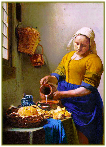 The Milk Maid by Johannes Vermeer Counted Cross Stitch or Counted Needlepoint Pattern