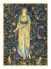 Forest Maiden in Blues detail by William Morris Counted Cross Stitch or Counted Needlepoint Pattern