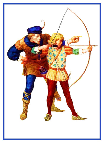 N.C. Wyeth Robin Hood Bow and Arrows Counted Cross Stitch Chart Pattern