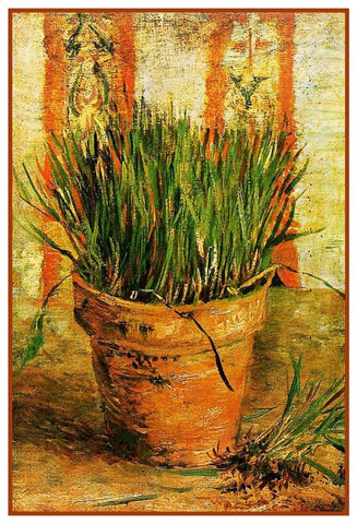 Flower Pot with Chives by Impressionist Artist Vincent Van Gogh Counted Cross Stitch Pattern