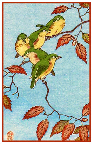 Japanese Artist Ohara Shoson's Birds on Autumn Branches Counted Cross Stitch Pattern