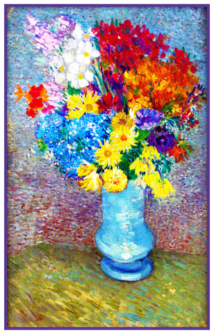 Flowers in a Blue Vase by Impressionist Artist Vincent Van Gogh Counted Cross Stitch Pattern