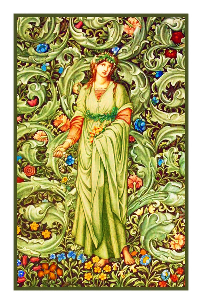 Garden Maiden in Green and Ivory by William Morris Counted Cross Stitch or Counted Needlepoint Pattern