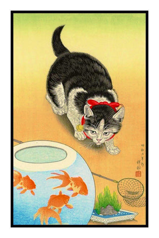 Japanese Artist Ohara Shoson's Cat and a Goldfish Bowl Counted Cross Stitch Pattern