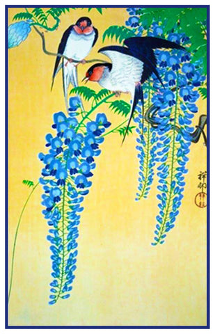 Japanese Artist Ohara Shoson's Swallow Birds on Wisteria Counted Cross Stitch Pattern DIGITAL DOWNLOAD