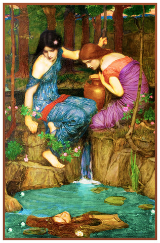 Nymphs Finding the Head of Orpheus inspired by John William Waterhouse Counted Cross Stitch or Counted Needlepoint Pattern