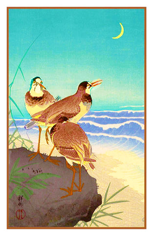 Japanese Artist Ohara Shoson's Plover at Seaside with Crescent Moon Counted Cross Stitch or Counted Needlepoint Pattern