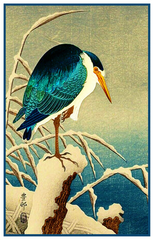 Japanese Artist Ohara Shoson's Blue Heron Bird in the Rain Counted Cross Stitch Pattern