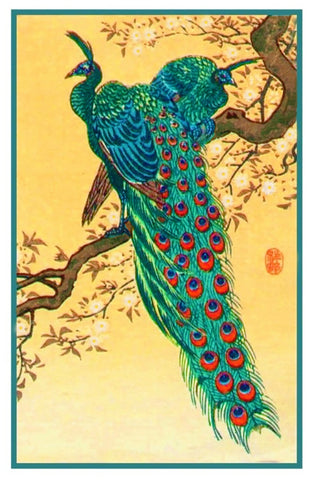 Japanese Artist Ohara Shoson's Peacocks on a Branch Counted Cross Stitch Pattern DIGITAL DOWNLOAD