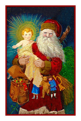 Victorian Father Christmas Santa Delivering With Christ Child Counted Cross Stitch Pattern DIGITAL DOWNLOAD