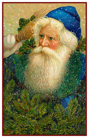 Father Christmas St. Nick Santa In Blue Cap Counted Cross Stitch Pattern DIGITAL DOWNLOAD