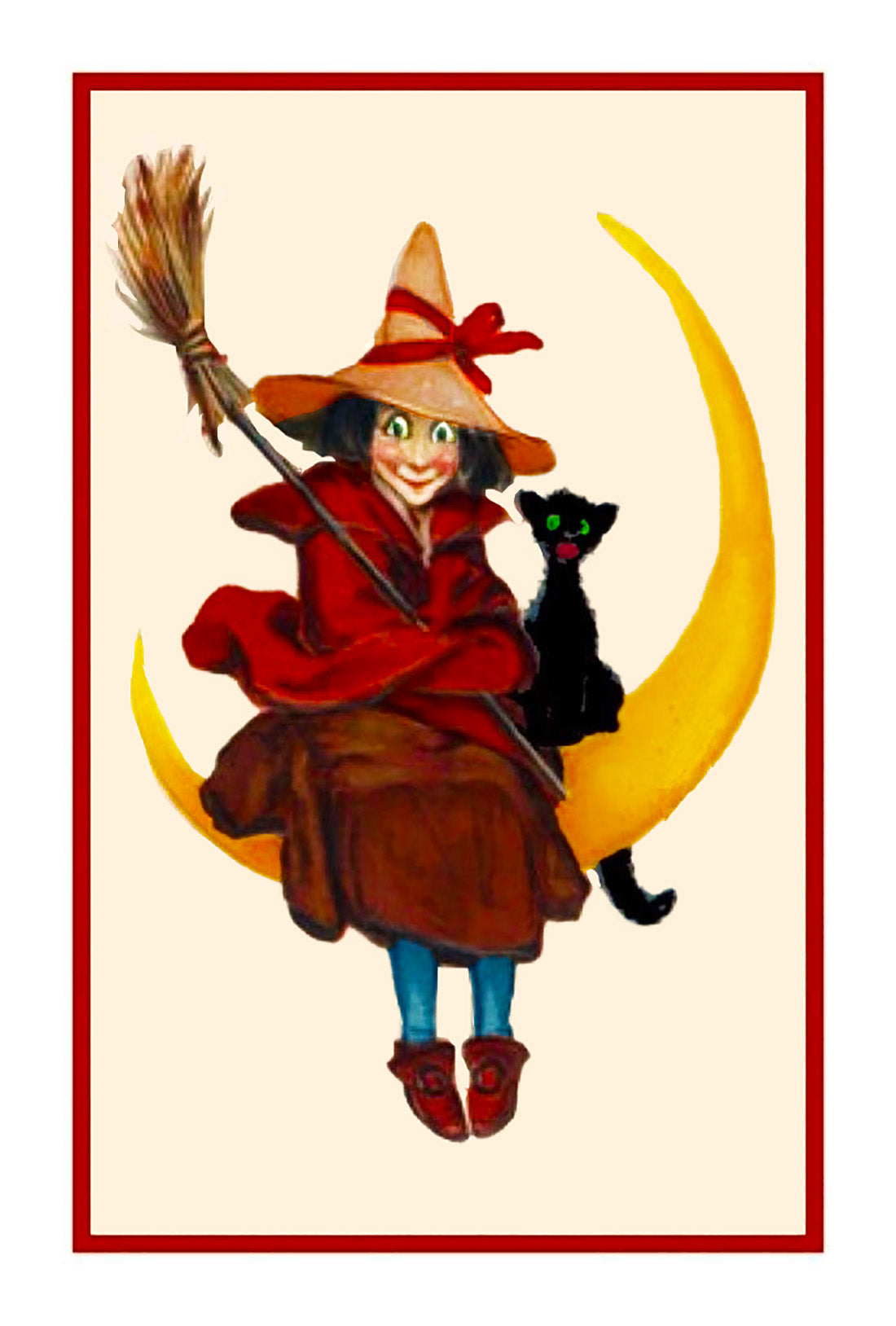 victorian halloween witch sitting on the moon with a black cat