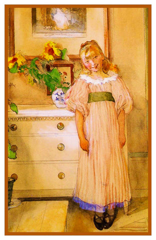 Hilda Her Sunflowers inspired Swedish Carl Larsson Counted Cross Stitch Pattern
