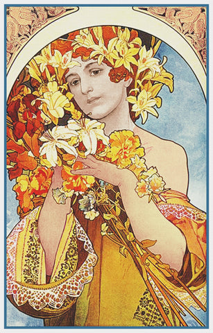 Flowers by Alphonse Mucha Counted Cross Stitch Pattern DIGITAL DOWNLOAD
