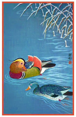 Japanese Artist Ohara Shoson's Mandarin Ducks Counted Cross Stitch Pattern