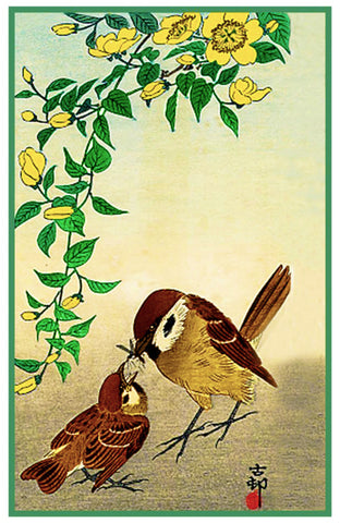 Japanese Artist Ohara Shoson's  Mother Sparrow Feeding Baby Bird Counted Cross Stitch Pattern