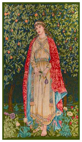 Arts and Crafts Orchard Maiden by William Morris Counted Cross Stitch Pattern