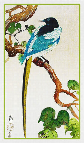 Japanese Artist Ohara (Koson) Shoson's Magpie on a Branch Counted Cross Stitch Pattern