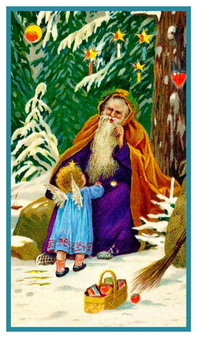 German Father Christmas Santa Claus Counted Cross Stitch Pattern DIGITAL DOWNLOAD