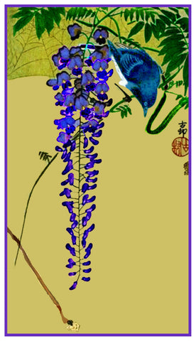Japanese Artist Ohara Shoson's  Flycatcher Bird on Wisteria Counted Cross Stitch Pattern