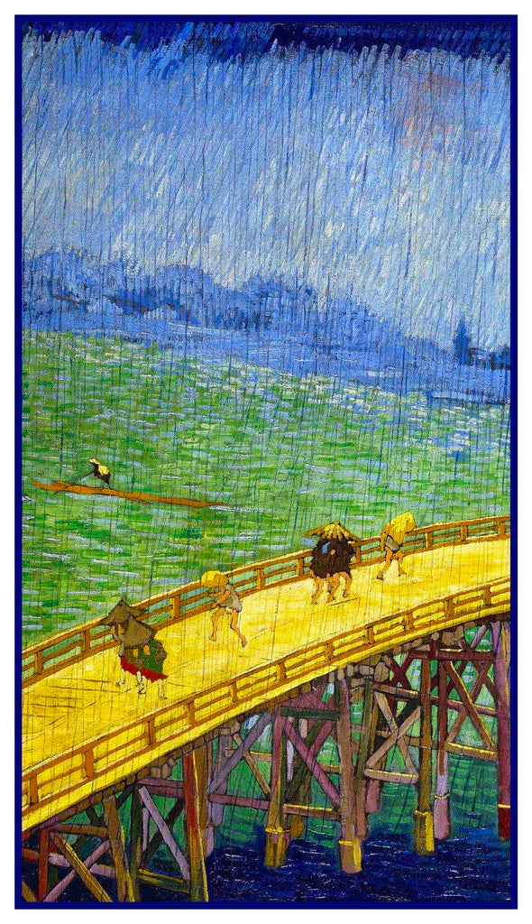 Bridge in Rain Detail Tribute to Hiroshige by Vincent Van Gogh Counted Cross Stitch  Pattern - Orenco Originals LLC