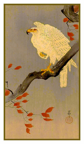 Japanese Artist Ohara Shoson's  White Eagle Bird on Autumn Branch Counted Cross Stitch Pattern
