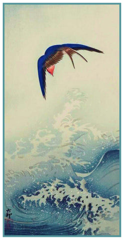 Japanese Artist Ohara Shoson's  Swallow Bird Above An Ocean Wave Counted Cross Stitch Pattern