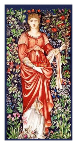 Pomona Maiden by Burne-Jones and Morris Counted Cross Stitch or Counted Needlepoint Pattern