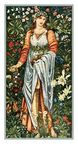 Flora Maiden by Burne-Jones and Morris Counted Cross Stitch Pattern